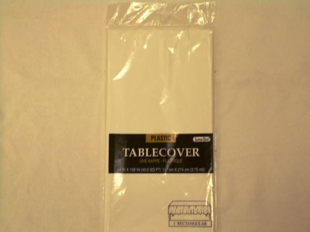 "S2843: White Extra Heavy Duty Table Cover 54""x108"""