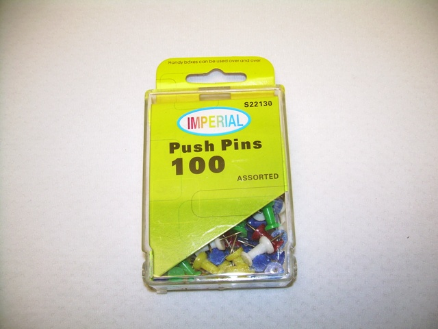 S22130: 100Pk Assorted Color Push Pins