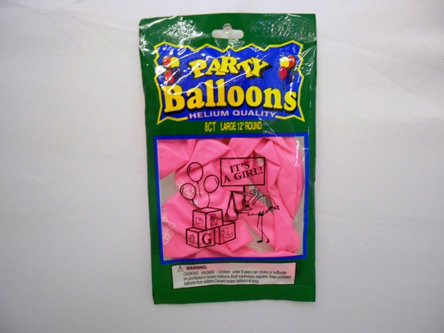 "NL5381: 8Pk ""It's a Girl"" Printed Balloons"