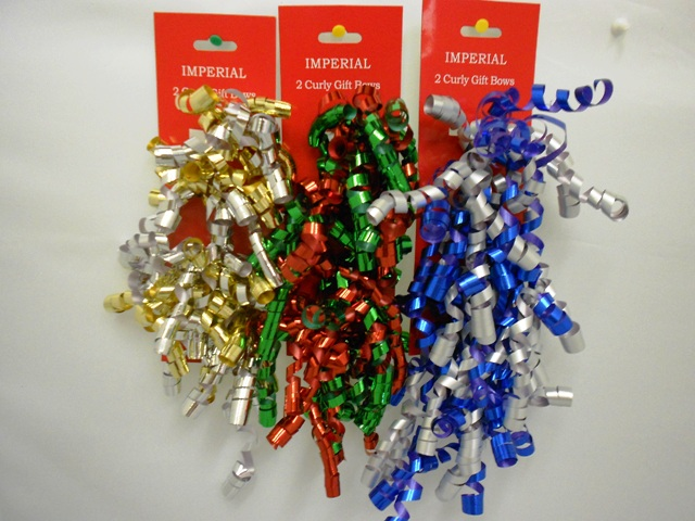 S7457: 2Pk Curly Bows Assorted Holiday Colors